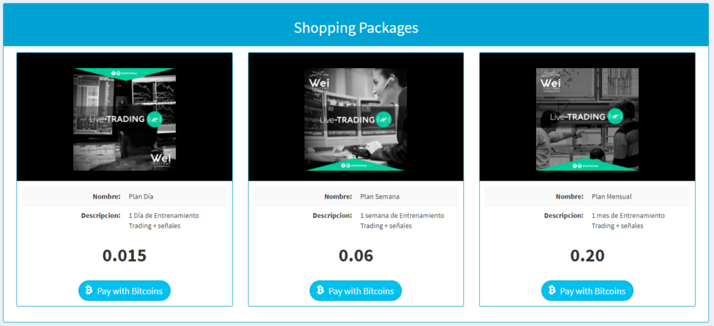live trading shopping packages