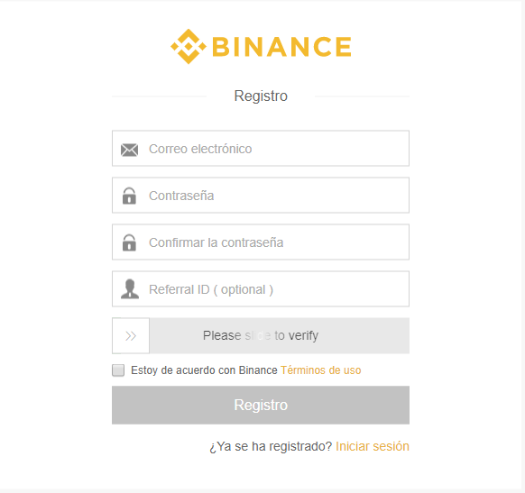 registro binance